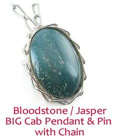 BIG Vintage Bloodstone or Jasper PIN - PENDANT with Matching Chain