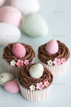 Easter eggs cupcakes. Ideas for Easter party cupcake decoration. Illustration / stock photo for blog for only 5$.