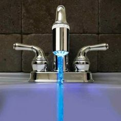 LED faucet light changes red with hot water and blue with cold!