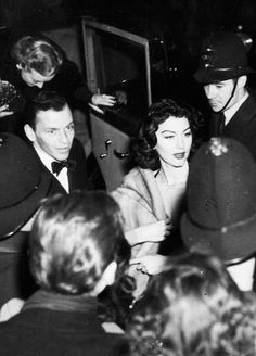 Frank Sinatra and Ava Gardner arrive at the London Coliseum for the Midnight Matinee. 1951