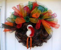 Turkey Deco Mesh wreath.  Wreaths by Rita.