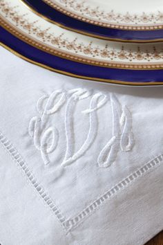 Monogrammed linens and fine china
