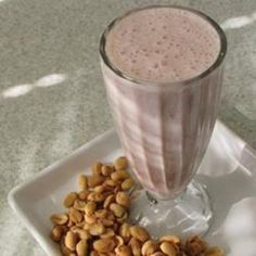 Peanut Butter 'N' Jelly Breakfast Shake peanuts, ice cubes, bananas, milk, food, drink, breakfast shakes, jelly, peanut butter