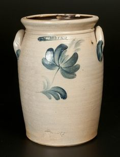 """Sold $250 One-Gallon Stoneware Jar with Cobalt Floral Decoration, Stamped """"WM. MOYER.,"""" Harrisburg, PA, circa 1858, cylindrical jar with tooled should..."""