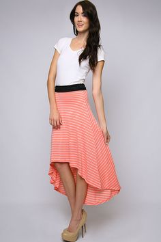 Chatterley Mila Skirt   in hi low stripes, coral