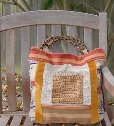 Adore the Use of different Fabrics. Her Totes are Beautiful~