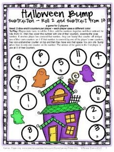 FREEBIE Halloween Math Bump Games - NO PREP board games from Games 4 Learning