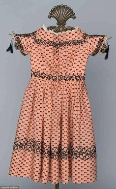Printed wool child's dress, 1850's.