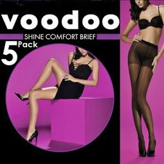 Voodoo New 5 Pairs Pack Shine Comfort Brief Sheer Pantyhose 15 Den Black Size XT