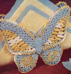Vintage Crochet PATTERN Butterfly Motif Napkin Holder
