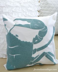 INSPIRATION: great cropped layout. Try using an antique crab graphic as an iron-on.    @BirchLane Crab Pillow Cover www.foxhollowcottage.com Coastal Cottage Home Decorating