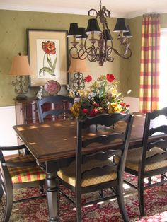 red curtain, beauti mix, color combo, dine space, dine room, kitchen tables, french countri, paint colors, dining spaces