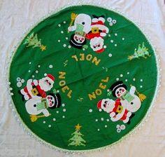 Vintage Christmas Tree Skirt ~ Pretty Green Noel Felt & Sequined Skirt w/ Santa, Snowman & Trees