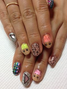 Crazy inspired by the 90's Trolls #nails