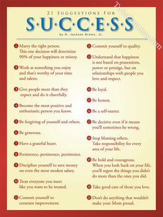21 suggestions for success poster