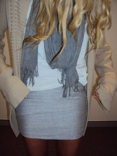 big cardi, t-shirt, scarf and pencil skirt-