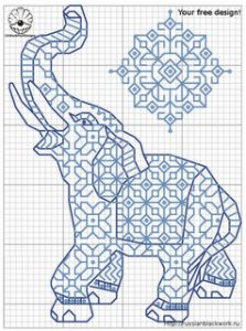 Free Elephant Blackwork Pattern · Cross-Stitch | CraftGossip.com
