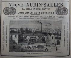 Nantes. Publicité Veuve Aubin-Salles, conserves alimentaires. 1882.