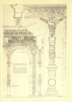 Architectural Sketch Drawing Carved Pillar and by CarambasVintage, $22.00