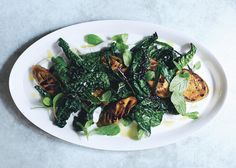 Grilled Eggplant and Greens with Spiced Yogurt Recipe - Bon Appétit