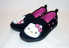 Hand Painted Hello Kitty Shoes by wehaveishshoes on Etsy, $35.00
