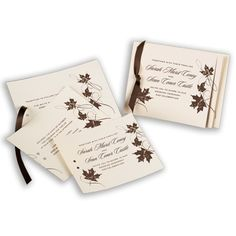 Set the tone for your autumn wedding with this ecru, three-tiered invitation featuring colorful leaf designs. #fall #weddings #davidsbridal #invitations
