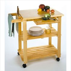 Winsome Utility Butcher Block Kitchen Cart in Natural Finish - $110