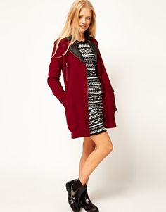 ASOS Wool Biker Coat With Leather Collar