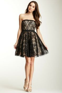Strapless Sequin Lace Dress