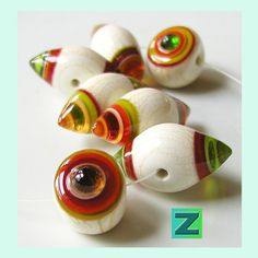 Glitter Nougats  7 beads  lampwork by Sarah Moran by zbeads