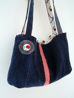 upcycled denim - pretty with red and white