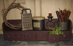 Wood Table/Wall Spice SHELF BOX*Apothecary Cabinet/Sewing/Jewelry/Seeds*BURGUNDY #NaivePrimitive