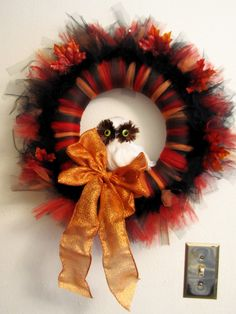 This Halloween wreath is made out of tule and comes with a tutorial.