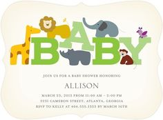 Wildlife Whimsy - Baby Shower Invitations - simplyput by Ashley Woodman - Kiwi Green #TopPin