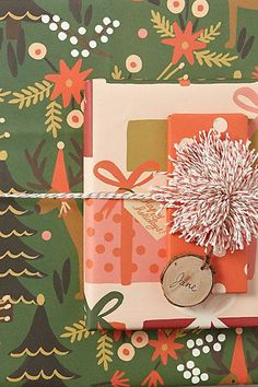 Good Tidings #Wrapping #Paper by Rifle #Paper Co.  #Anthropologie gift wrap, wrap paper, paper goods, papers, paper design, gift tags, tide wrap, the holiday, christmas wrapping