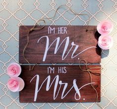 Just Married Reception Bride and Groom Chair Signs on Etsy, $30.00