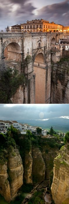 Ronda, Malaga, Spain.  The beautiful Spanish cliffside town.  The Guadalevín River runs through the city, dividing it in two and carving out the steep, 100+ meters deep El Tajo canyon, upon which the city perches
