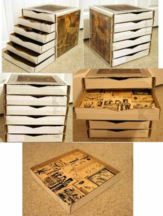 A Tiered Desk Organizer from pizza box