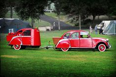 little red car and trailer...