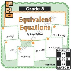 Multi-Match Game Cards 8E: Equivalent Equations from K-8 MathPaths on TeachersNotebook.com -  (9 pages)  - This set of printable cards will help students understand how to write equivalent equations, called for by Common Core standard 8.EE.7. These are great for math centers!