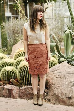 Tieka looks romantic and feminine in this blouse and lace skirt!