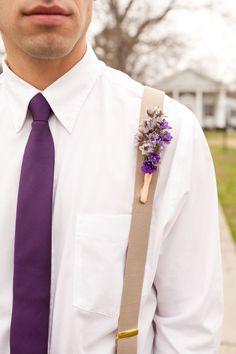 purple boutonniere & tie