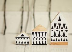 SET of 3 - Hand painted wooden village, miniature village, hand painted house, wood block toy house, little wooden house, decorative house