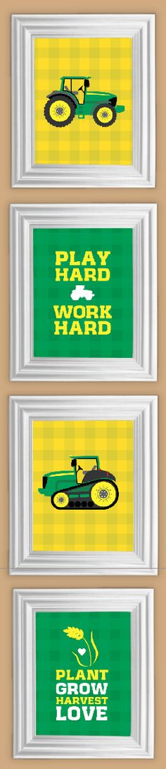 John Deere Inspired Printables. Available in 3 sizes, and sets with red backgrounds. - Tractor, Decor, Children, Boys Bedroom, Nursery Prints, Frameable, Harvest, Farm Theme John Deer Bedroom, Boys John Deere Bedroom, Boys Tractor Bedroom, Boy Bedrooms, John Deere Boys Bedroom, Boys Bedroom In Tractors, John Deere Boys Room, Boys John Deere Room, John Deere Bedroom Decor