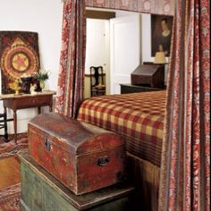 old trunks, design bedroom, bedroom decor, english country, master bedrooms, antiqu, country bedrooms, bedroom designs, curtain