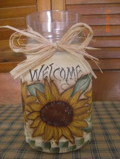 Sunflower Mason Jar Candle holder with votive cup