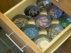 Tuna cans! junk drawer, office organization, drawer organization, office supplies, closet organization, tin cans, household items, teacher, desk organization
