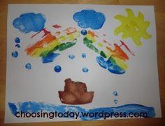 noah's ark craft. Book of creation.. clouds, cotton, books, balls, craft, noah ark, hand prints, rain drops, kid