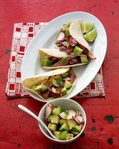 Skirt Steak Tacos with Radish and Avocado Salsa