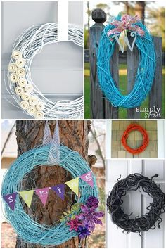 painted grapevine wreaths. who said they had to be brown?